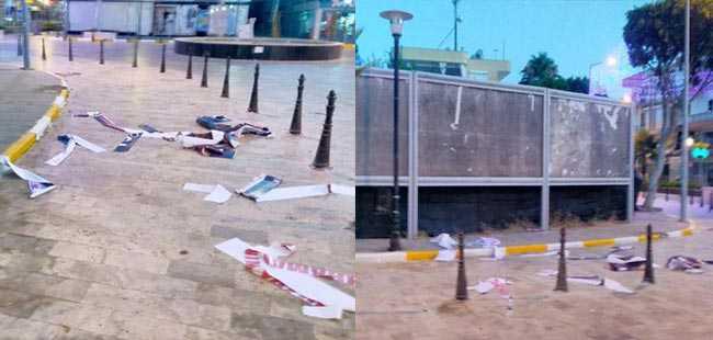 Antalya'da 15 Temmuz afişlerini parçaladılar