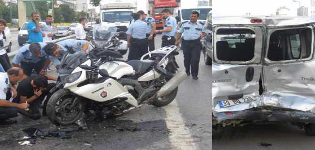 Motorsikletli polis kaza yaptı