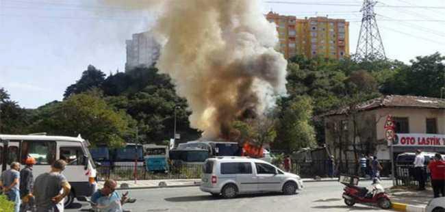 Otobüste büyük yangın