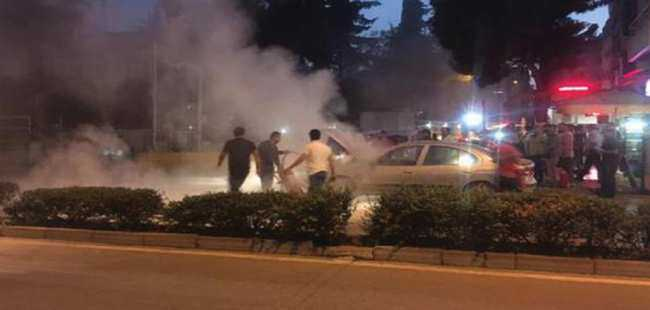 Seyir halindeki otomobilde patlama