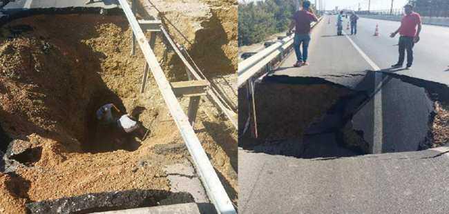 Antalya'da yol çöktü