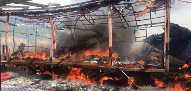 Eğitim alanında yangın çıktı