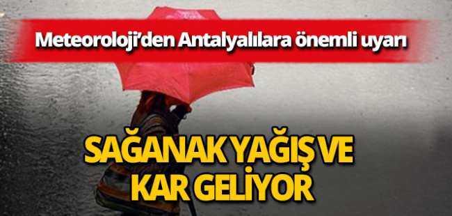 Antalya'ya sağanak yağış uyarısı