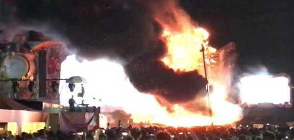 Müzik festivalinde yangın paniği