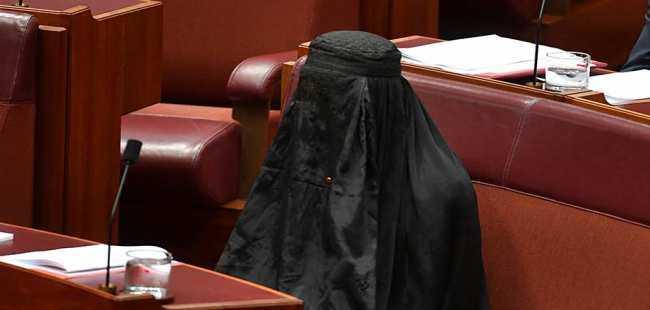 Meclise burka ile girdi