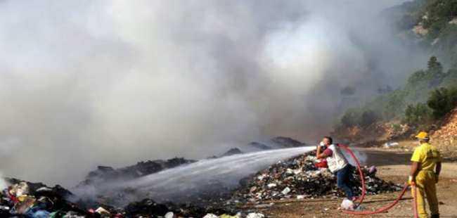 Çöp depolama alanında yangın