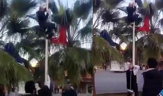 Türk bayrağını indirmeye çalışan kişi belli oldu