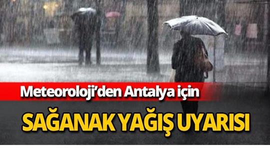 Antalya için yağış uyarısı