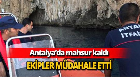 Antalya'da mahsur kalan kedi kurtarıldı