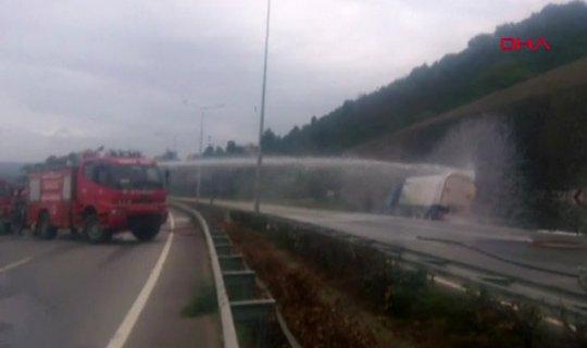 LPG yüklü tanker kaza yaptı