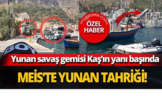 Yunan savaş gemisi Kaş'ın yanı başında