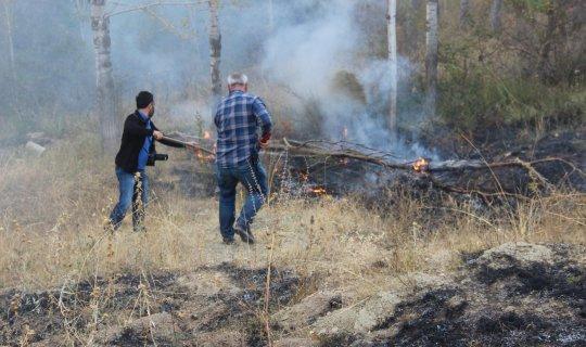 Yangını ormana sıçramadan gazeteciler söndürdü