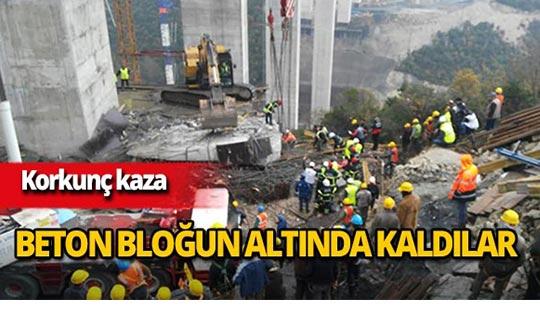 İşçiler beton bloğun altında kaldı!