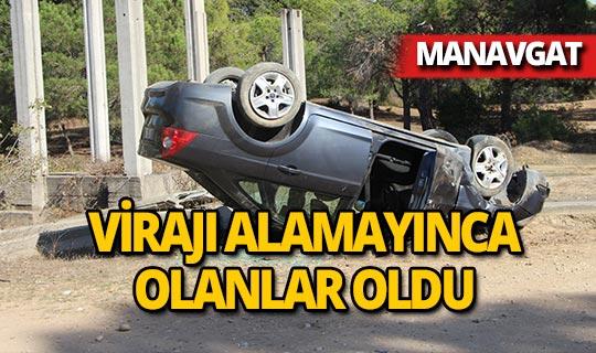 Manavgat'ta otomobil ters döndü!