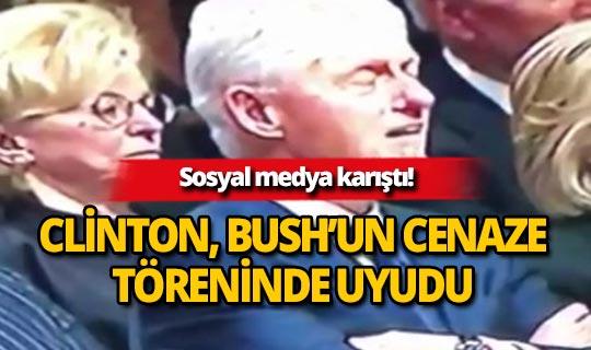 Clinton, cenaze töreninde uyudu!