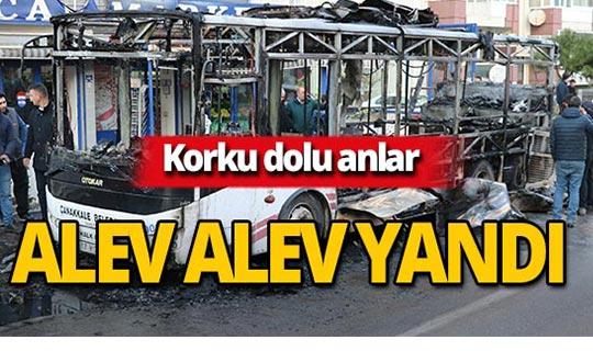 Halk otobüsü cayır cayır yandı!