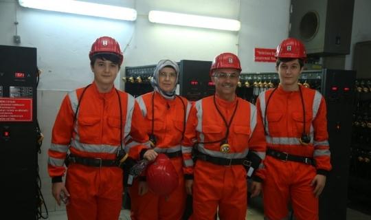 Rize Valisi Kemal Çeber, ailesiyle beraber madende yerin altına indi