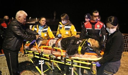 Falezlerden düşen şahsı deniz polisi kurtardı