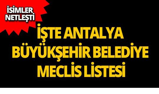 2019 Antalya Büyükşehir Belediye Meclisi Üyeleri