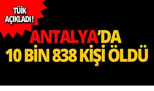 TÜİK açıkladı: Antalya'da 10 bin 838 kişi öldü!