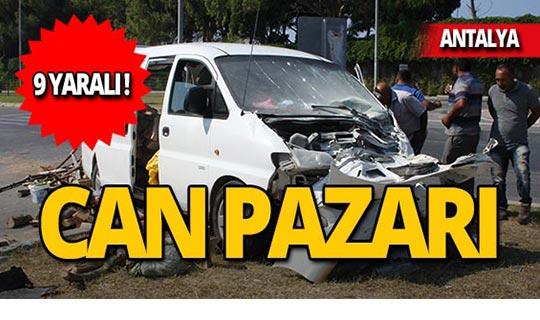 Tur midibüsü kaza yaptı: 9 kişi yaralandı!