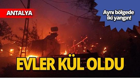 Alevler köyü sardı, evler kül oldu