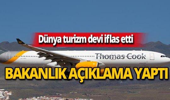 Kültür ve Turizm Bakanlığı'ndan Thomas Cook açıklaması