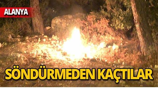 Ormanlık alanda yakılan ateşe vatandaşlardan tepki!