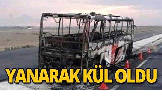 Yolcu otobüsü yanarak kül oldu
