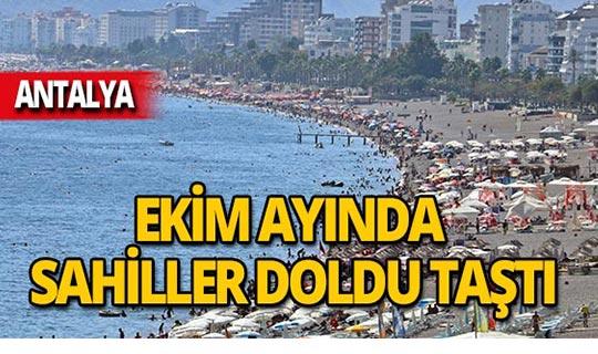 Antalya sahilleri tıklım tıklım