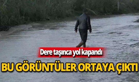 Antalya'da taşan dere yolu kapattı, vatandaşlar ne yapacağını şaşırdı
