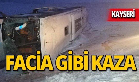 Yolcu otobüsü devrildi: 23 yaralı!