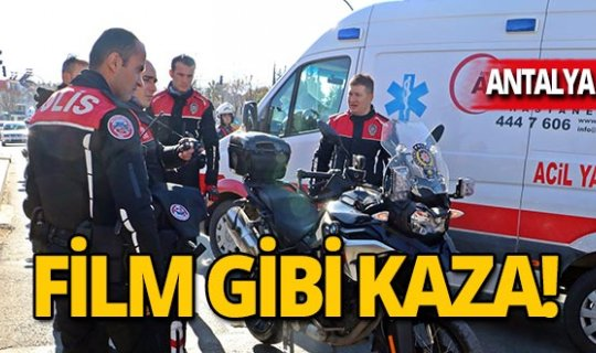 Film gibi kaza: 2 polis memuru yaralı