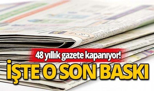 48 yıllık gazete son baskısını yayınladı