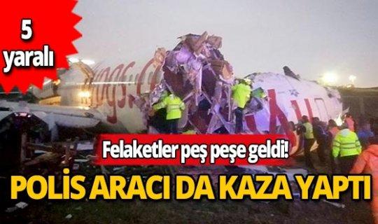 Sabiha Gökçen Havalimanı'na giden polis arabası kaza yaptı!