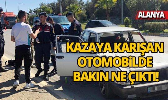 Alanya'da kazaya karışan otomobilde uyuşturucu buldu