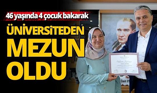 Antalya'da 4 çocuk bakarak üniversiteden mezun oldu