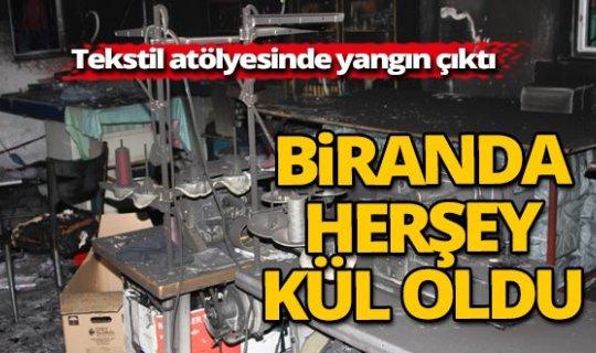 Antalya'da tekstil atölyesi yandı