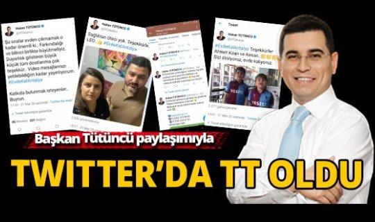 Başkan Tütüncü, 'Evde Kal Antalya' paylaşımıyla Twitter'da TT oldu