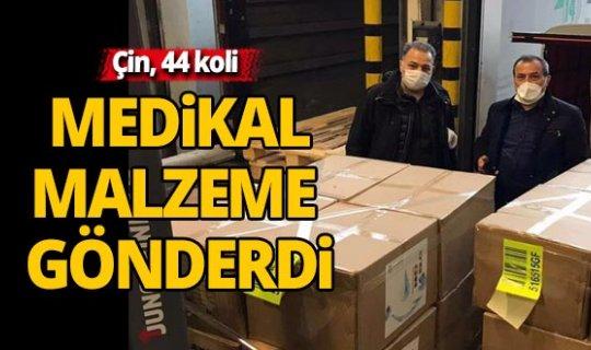 Çin, 44 koli medikal malzemeyi Türkiye'ye gönderdi