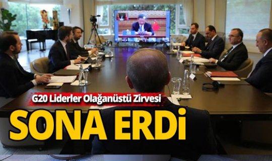 Cumhurbaşkanı Erdoğan G20 Liderler Olağanüstü Zirvesi'ne video konferans yöntemiyle katıldı