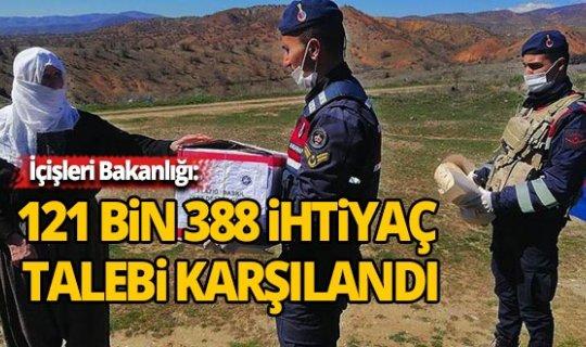 İçişleri Bakanlığı: 121 bin 388 ihtiyaç talebi karşılandı