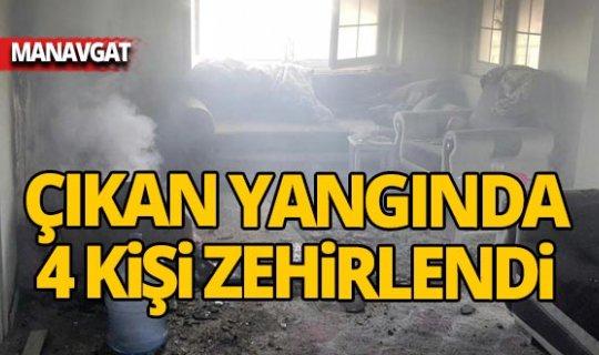 Manavgat'ta çıkan yangında 4 kişi zehirlendi