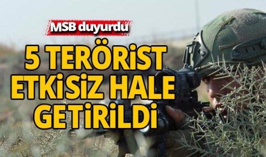 PKK'lı 5 terörist etkisiz hale getirildi