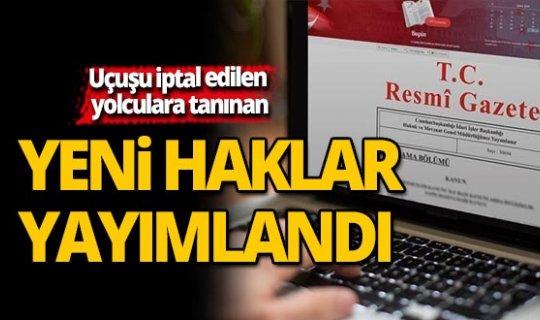 Uçuşu iptal edilen yolculara tanınan yeni haklar Resmi Gazetede yayımlandı