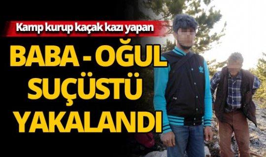 Alanya'da kamp kurarak kaçak kazı yapan baba-oğul yakalandı