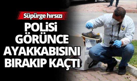 Polisi gören hırsız ayakkabısını bırakıp kaçtı