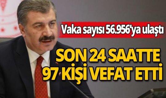 Türkiye'de son 24 saatte korona virüs nedeniyle 97 kişinin hayatını kaybetti