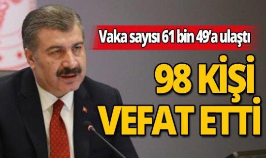 Türkiye'de son 24 saatte korona virüs nedeniyle 98 kişi hayatını kaybetti