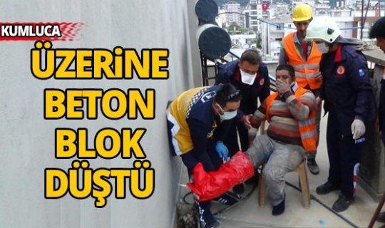 Üzerine beton blok düşen işçi yaralandı